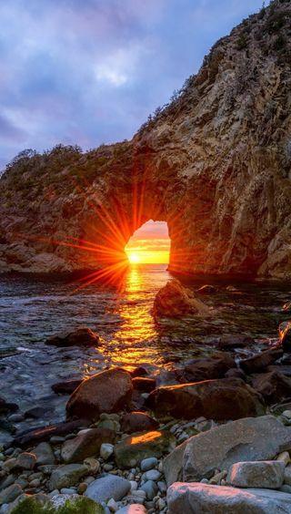 Обои на телефон камни, эпл, солнце, природа, прекрасные, небо, море, деревья, горы, apple, 2015