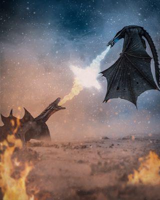 Обои на телефон игра, дракон, бой, hq, hd, got, dragon