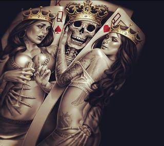 Обои на телефон карты, череп, тату, сердце, король, короли, королева, kings n queens