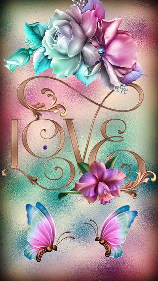 Обои на телефон цветы, цветные, текст, любовь, дизайн, бабочки, love