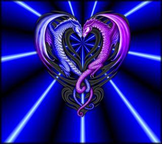 Обои на телефон электрические, синие, сердце, любовь, дракон, love, dragon, dragn love