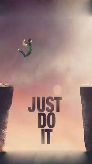 Обои на телефон прыгать, просто, отношение, оно, горы, высокий, just do it, dare