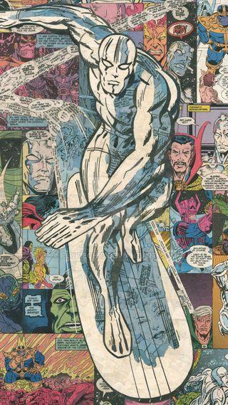 Обои на телефон фантастические, серебряные, мстители, марвел, комиксы, герой, silver surfer comic, silver surfer, marvel, fantastic four