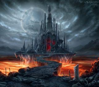 Обои на телефон вечер, темные, ночь, луна, замок, готические, вампиры, vampire castle, myth, eerie