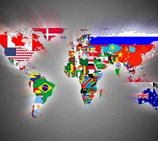 Обои на телефон флаги, мир, карта