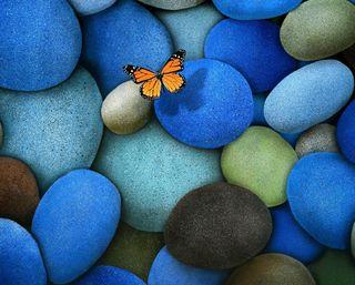 Обои на телефон камни, камешки, бабочки, арт, butterfly and stones, art