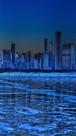 Обои на телефон чикаго, холодное, лед, озеро, зима, здания, город, frozen city, freeze
