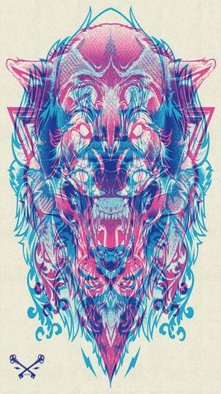 Обои на телефон синие, розовые, приятные, лучшие, лев, крутые, красота, графические, волк, арт, wow, wolf - lion graphic, art, 3д, 3d
