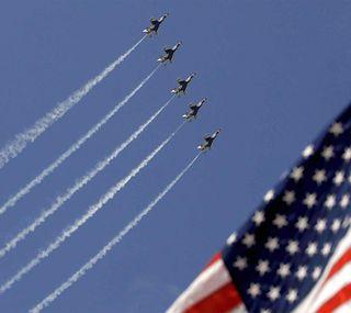 Обои на телефон флаг, патриотический, небо, дым, американские, us, jets
