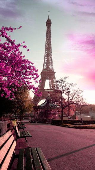Обои на телефон эйфелева башня, скамейка, париж, небо, дорога, деревья, башня