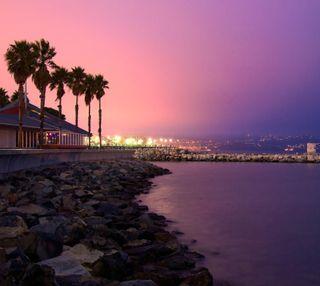 Обои на телефон вечер, пляж, пальмы, ночь, небо, закат, дом, берег