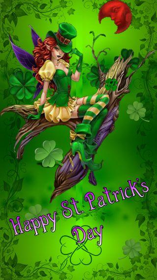 Обои на телефон сказочные, святой, патрика, луна, листья, клевер, зеленые, день, st patricks fairy, four