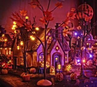 Обои на телефон ужасные, хэллоуин, тыква, осень, дом, spooky house, halloween 2016, department 56