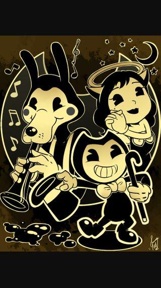 Обои на телефон банда, чернила, машина, алиса, with the gang, boris bendy alice, bendy the whole gang, bendy