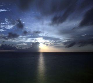 Обои на телефон море, луна, moon set