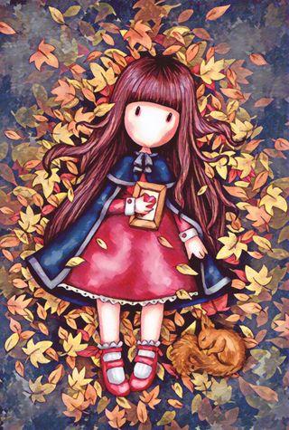Обои на телефон осень, листья, красые, девушки, белка, santoro, lying, gorjuss