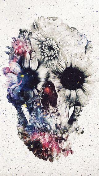 Обои на телефон череп, цветы, синие, розовые, белые