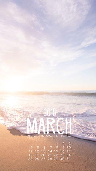 Обои на телефон продуктивность, март, календарь, пляж, календари, march beach