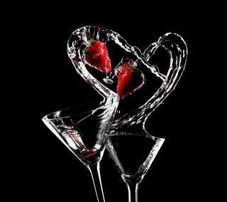 Обои на телефон очки, сердце, напиток, любовь, клубника, love and heart, love