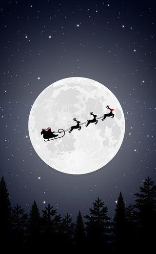 Обои на телефон санта, олень, ночь, минималистичные, луна, дизайн, sleigh, fullmoon