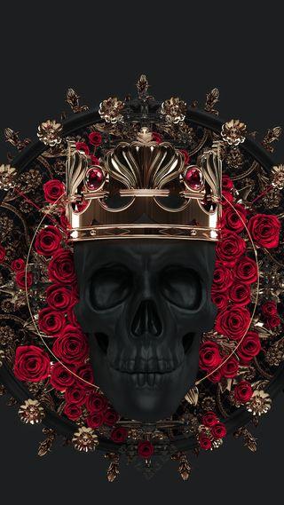 Обои на телефон корона, череп, темные, тату, смерть, розы, король, золотые, готы, арт, scultpture, dark king, art