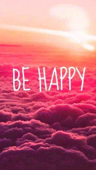 Обои на телефон фразы, будь, текст, счастливые, символ, розовые, простые, облака, небо, happy