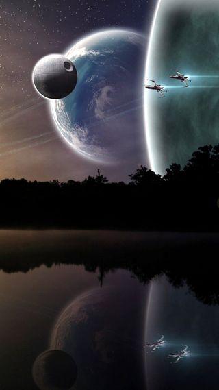 Обои на телефон звездные войны, черные, луна, космос, войны, xwing, space wars
