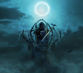 Обои на телефон трон, готические, темные, смерть, металл, зло, жнец, ворона, ворон, ангел, death throne