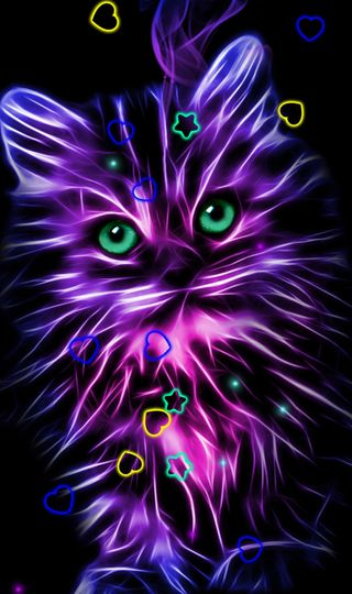 Обои на телефон неоновые, котята, neon kitty, elegance
