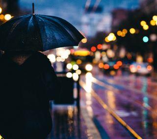 Обои на телефон амбрелла, дождь, город