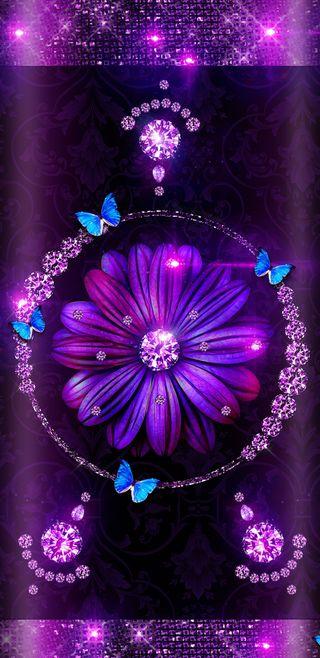 Обои на телефон девчачие, цветы, фиолетовые, синие, симпатичные, сверкающие, блестящие, бабочки