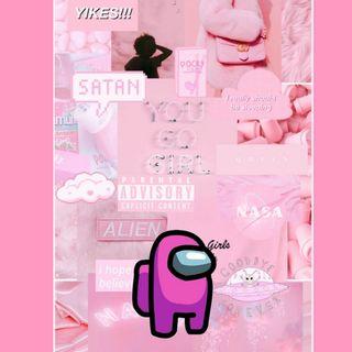 Обои на телефон розовые, амонг, among us pink