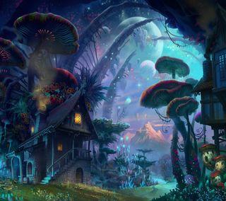 Обои на телефон фантазия, растения, грибы, город, mushroom city