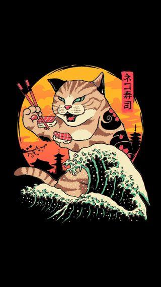Обои на телефон японские, злые, котята, арт, art, angry kitten