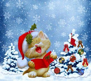 Обои на телефон песня, счастливое, снежинки, рождество, котята, зима, дерево
