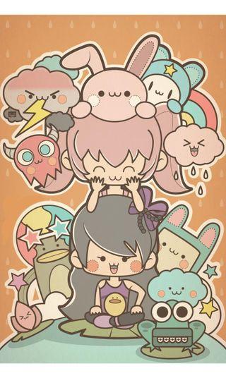 Обои на телефон кролики, японские, фото, флэш, семья, облака, лягушка, каваи, the familyphoto