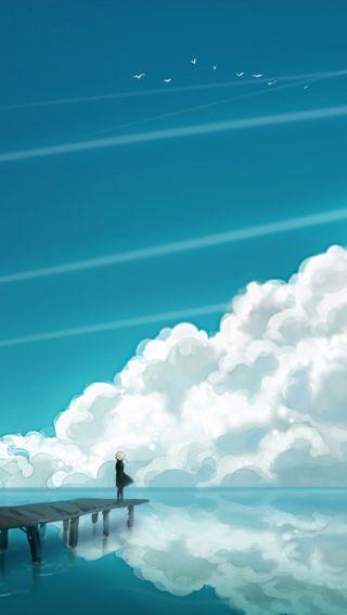 Обои на телефон облака, море, вид, аниме, sea view