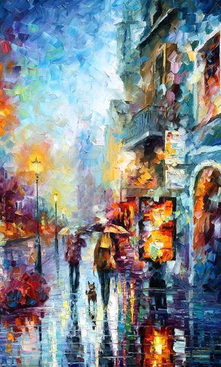 Обои на телефон картина, ночь, дождь, город, afremov