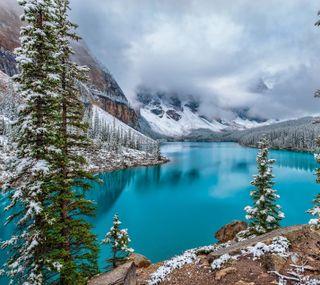 Обои на телефон холодное, снег, пейзаж, озеро, зима, горы
