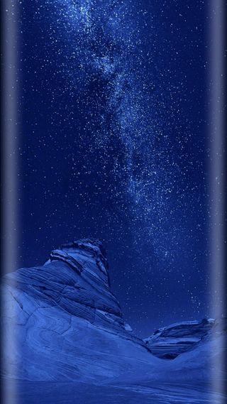 Обои на телефон стандартные, синие, ночь, небо, звезды, грани, горы, айфон, абстрактные, s8, iphone, ios