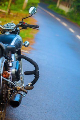 Обои на телефон мотоциклы, скорость, природа, дорога, байк, enfield, bullet