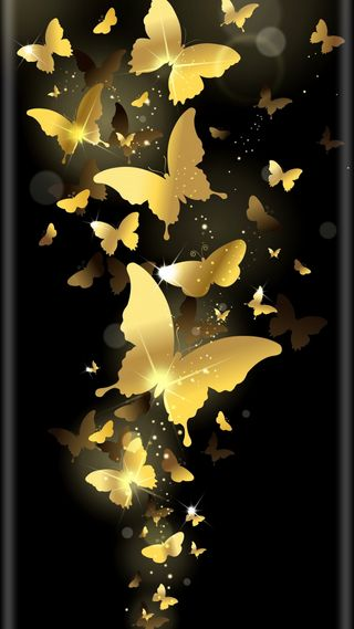 Обои на телефон бабочки, золотые, papillon, or