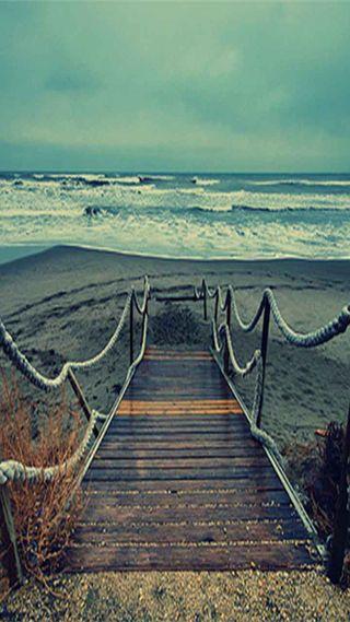 Обои на телефон мост, море, берег