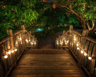Обои на телефон свеча, сад, свет, мост, лес, деревянные