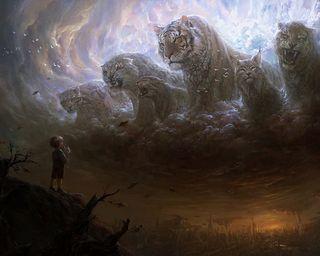 Обои на телефон фантастика, зверь, фантазия, облака, мальчик, коты, классные, картина, будущее, beast of the clouds