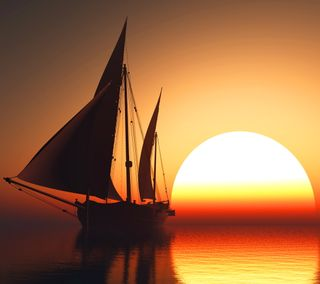 Обои на телефон спокойствие, солнце, море, луна, закат, вода, water sunset sun moon, sailboat, calm sea