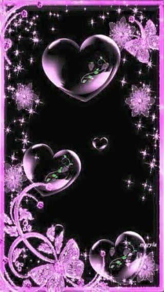 Обои на телефон пузыри, фиолетовые, сердце, purple hearts, bubble hearts