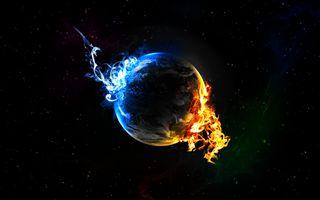 Обои на телефон оранжевые, черные, синие, огонь, лед, космос, земля, вода, абстрактные, fire and ice