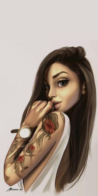 Обои на телефон рисунки, девушки, tatto