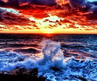 Обои на телефон рассвет, волны, природа, пейзаж, красые, red dawn